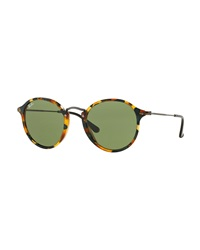Round Acetate Sunglasses Green Tortoise Ray Ban