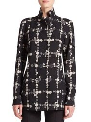 Akris Punto Button Print Wool Peplum Shirt Black