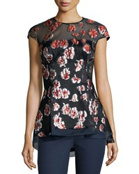 Lela Rose Cap Sleeve Raised Floral Peplum Blouse Cranberry Red Women's
