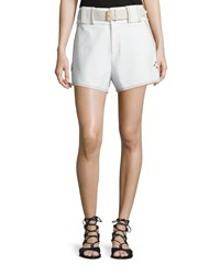 Derek Lam 10 Crosby Belted Mid Rise Shorts White Size 00