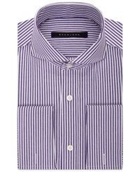 Sean John Men's Purple Stripe French Cuff Dress Shirt Bright Violet