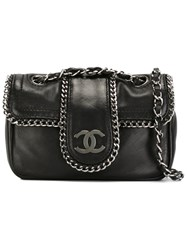 Chanel Vintage Mini Chain Trim Shoulder Bag Black