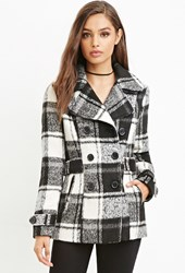 Forever 21 Tartan Plaid Coat Black Cream