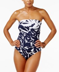 Tommy Bahama Leaf Print Bandeau Tummy Control One Piece Swimsuit Women's Swimsuit Mare White