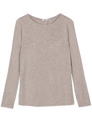 Fat Face Maltby Button Back Top Misty Surf