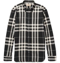 Burberry Slim Fit Checked Cotton And Cashmere Blend Shirt Black