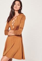 Missguided Lace Up Front Long Sleeve Skater Dress Tan Brown