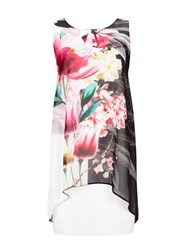 Wallis Contrast Floral Overlay Dress Black