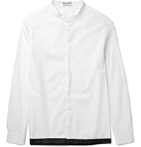 Balenciaga Shell Trimmed Grandad Collar Cotton Poplin Shirt White