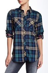 Sandra Ingrish Mixed Plaid Shirt Blue