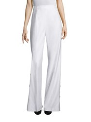 Escada Side Button Wool Wide Leg Pants Off White