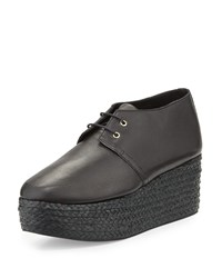 Robert Clergerie Patos Flatform Leather Espadrille Oxford Black Women's Size 41.0B 11.0B