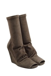 Rick Owens Suede Boots With Open Toe Brown