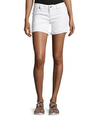 True Religion Frayed Cuff Denim Shorts Optic White