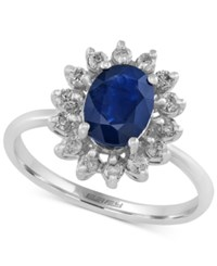 Effy Collection Royal Bleu By Effy Sapphire 1 3 8 Ct. T.W. And Diamond 1 3 Ct. T.W. Ring In 14K White Gold Blue