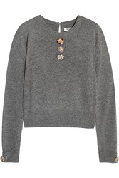 Issa Freya Embellished Wool And Cashmere Blend Sweater Gray
