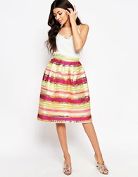 Lashes Of London Marvel Jacquard Midi Prom Skirt Multi