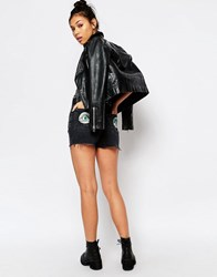 The Ragged Priest High Waist Vintage Denim Shorts With Alien Patches Charcoal Black