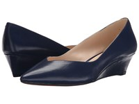 Nine West Elenta Navy Leather Women's Wedge Shoes Blue