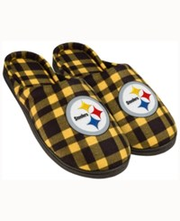Forever Collectibles Pittsburgh Steelers Flannel Slide Slippers Black
