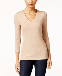 Inc International Concepts Ribbed V Neck Top Only At Macy's Heather Bisque