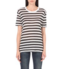 The Kooples Striped Semi Sheer Jersey T Shirt Black White