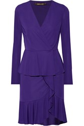Roberto Cavalli Wrap Effect Ruffled Stretch Jersey Mini Dress Dark Purple
