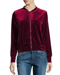 Hazel Velvet Bomber Jacket W Embroidered Back Dark Red