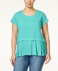 Styleandco. Style And Co. Plus Size Short Sleeve Flounce Hem Top Only At Macy's Pacific Aqua