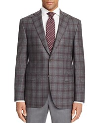 Jack Victor Loro Piana Plaid Prestige Classic Fit Sport Coat Grey Burgundy