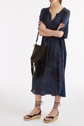 Raquel Allegra Navy Tie Dye Kaftan Dress