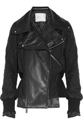 Sacai Leather Paneled Quilted Shell Jacket Black