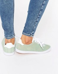 Blink Suede Lace Up Sneaker Trainers Mint Green