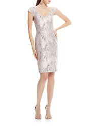 Theia Shimmery Jaquard Sheath Dress Pink Silver