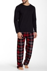 Majestic Crew Tee And Fleece Pant Two Piece Set Red