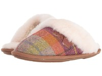 Bedroom Athletics Kate Harris Tweed Natural Burgundy Check Women's Slippers Multi