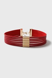 Topshop Multirow Leather Bar Choker Red