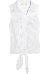 Michael Michael Kors Knotted Broderie Anglaise Cotton Top White