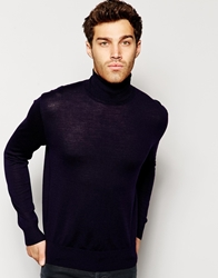 Polo Ralph Lauren Jumper With Turtle Neck In Merino Wool Navy