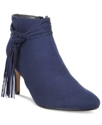 Thalia Sodi Alta Fringe Booties Only At Macy's Women's Shoes Navy