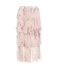 Zimmermann Printed Silk Skirt Pink
