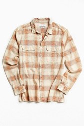 Urban Outfitters Uo Eliso Bleached Shadow Plaid Flannel Button Down Shirt Rose