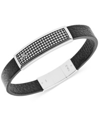 Emporio Armani Men's Stainless Steel Leather And Logo Plaque Bracelet