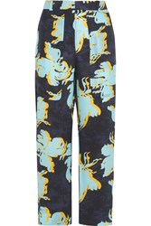 Cedric Charlier Printed Washed Silk Wide Leg Pants