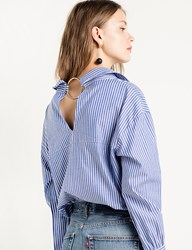 Pixie Market Nami Ring Back Striped Sleeve Tie Shirt
