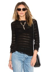 Inhabit Fringe Stripe Sweater Black