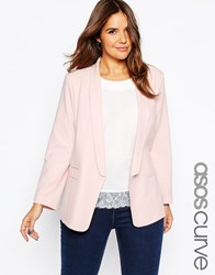 Asos Curve Blazer In Crepe With Slim Lapel Blush Pink