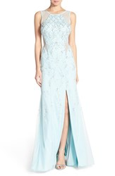 Women's Sean Collection Illusion Embellished Net Gown