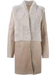 Liska Contrasting Panels Coat Nude And Neutrals