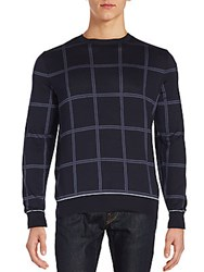 Brioni Long Sleeve Plaid Tee Blue
